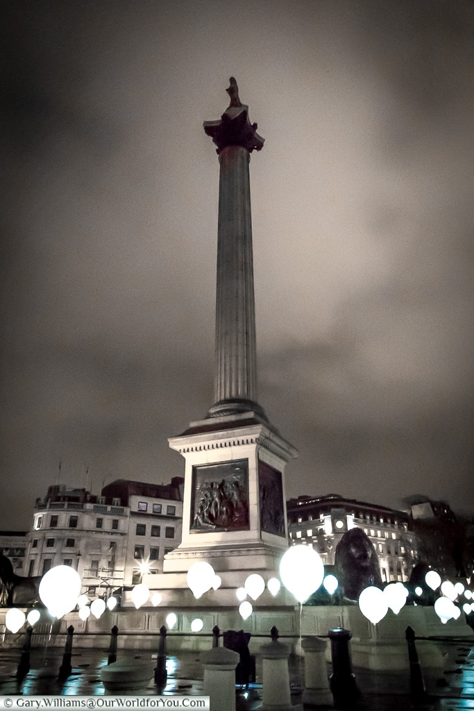 Nelson's column in Lumiere London, London, England, UK
