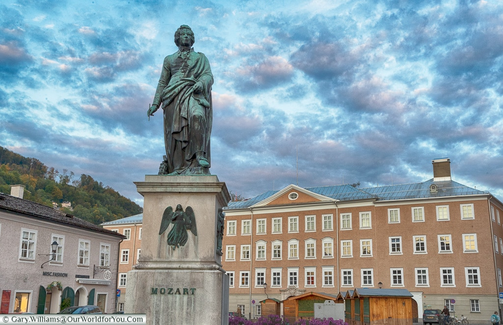 The statue to Mozart in Mozartplatz, Salzburg, Austria