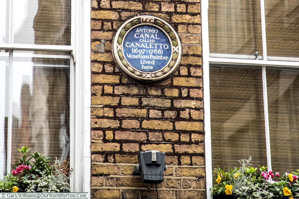 Canaletto lived in London?, Blue Plaques, London, England