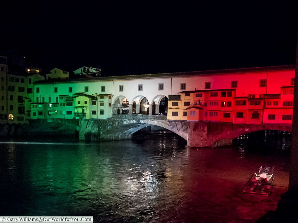 The Italian flag projected on the Ponte Vecchio, Florence, Tuscany, Italy
