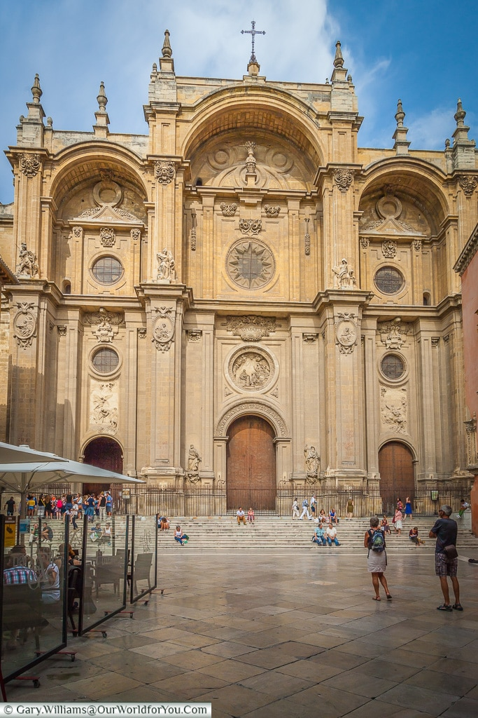 The grand entrance to the Cathedral, Granada, Spain