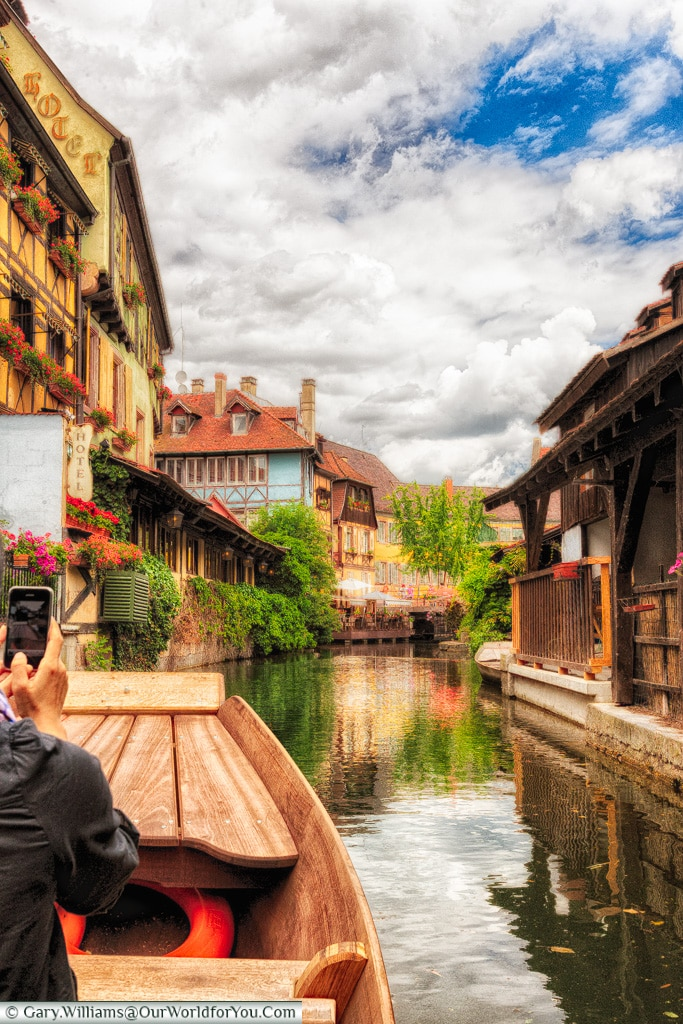 Floating along the waterways of Colmar, Alsace, France