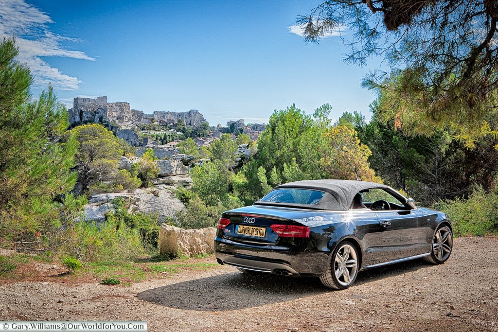 The Audi S5 at the roadside in Provence, France