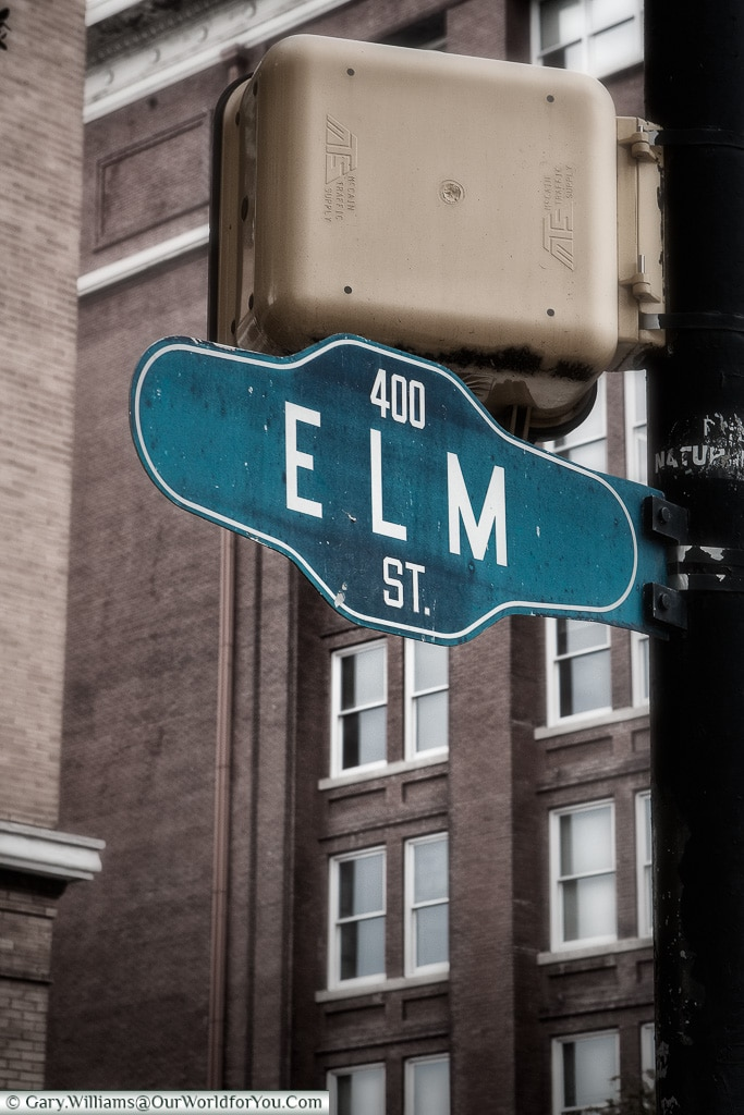 Elm Street, Dallas, Texas, USA