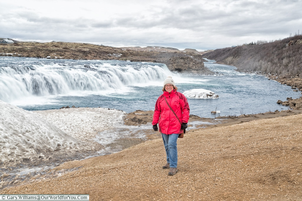 Janis at the Faxi waterfall, Iceland