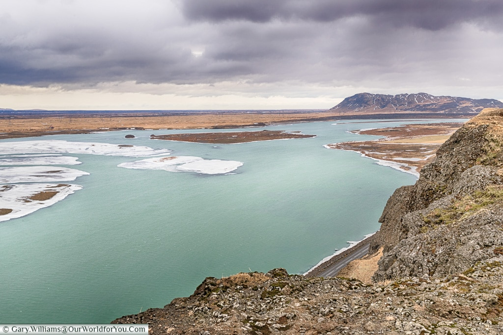 Looking across route 32, Iceland