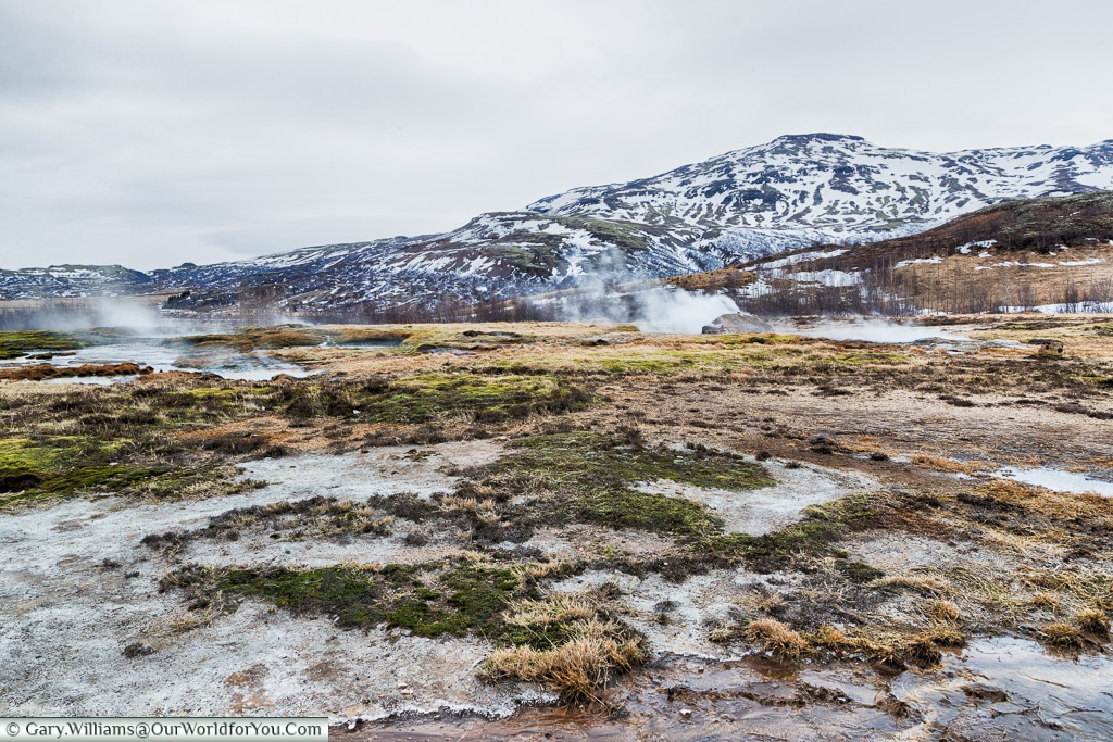 Steam rising from the earth on the Golden Circle, Iceland