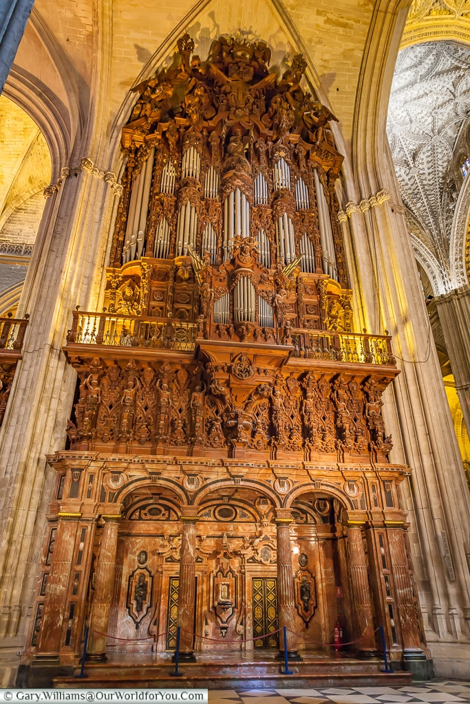 The organ inside the Cathedral, Seville Cathedral, Seville, Spain