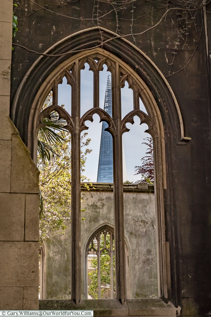 Through the window, St Dunstan-in-the-East, City of London, London