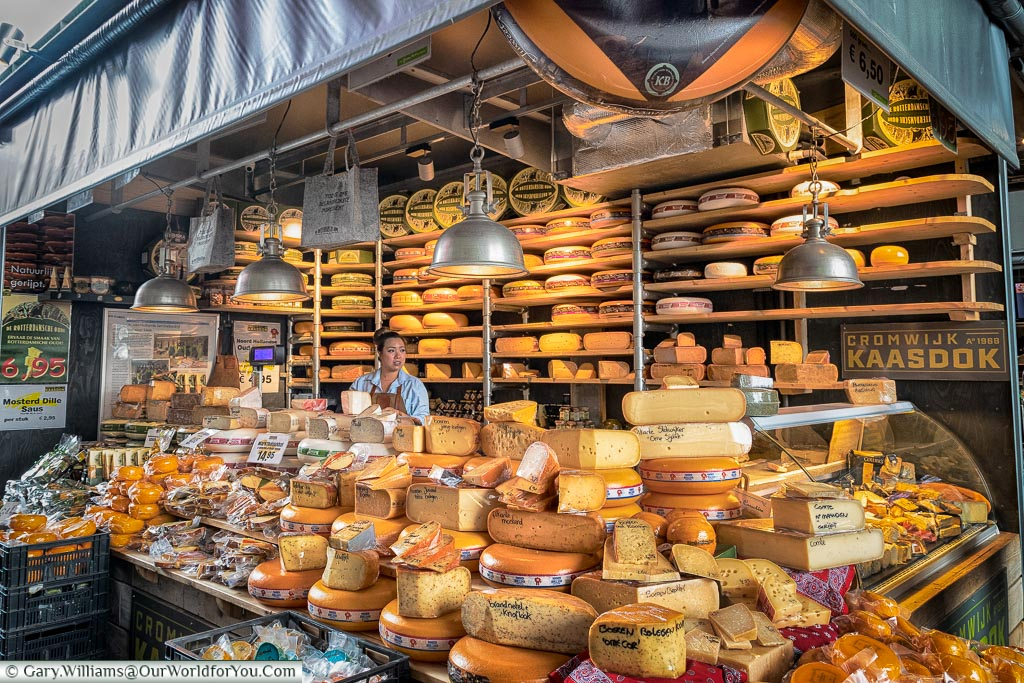 A cheese stall inside the Market Hall, Rotterdam, Netherlands