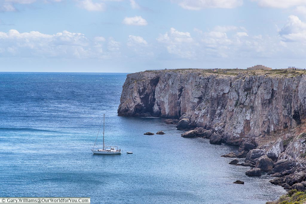 A yacth moored off Sagres, Argarve,  Portugal