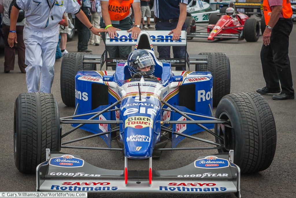 Damon Hill in his FW18 Williams F1 car, Goodwood, Festival of Speed