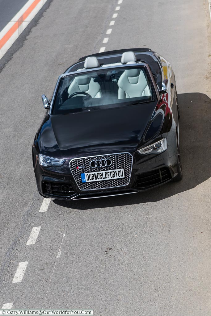 An Audi RS5 convertible sitting in the pits of the circuit Reims-Gueux, Reims, France