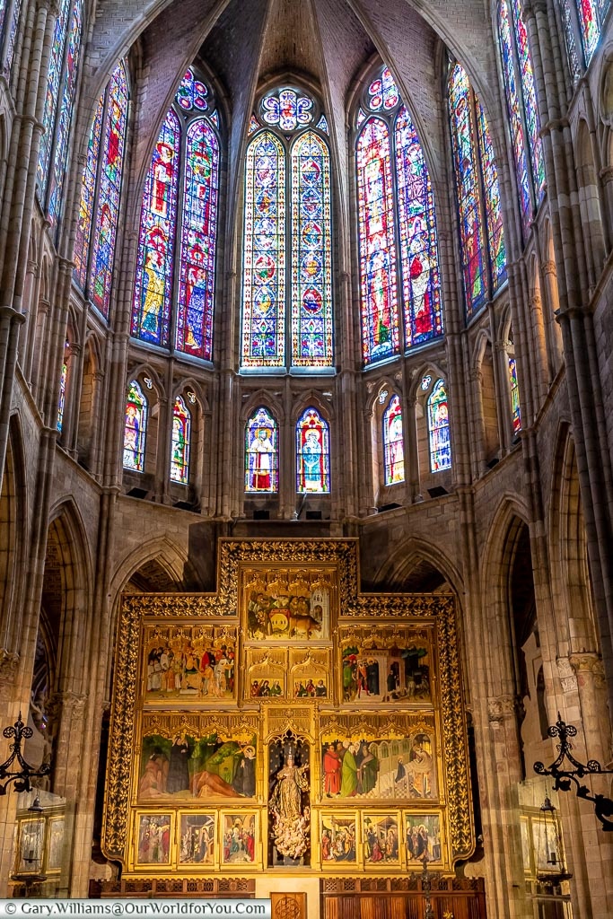 Detail inside the Cathedral, León, Spain