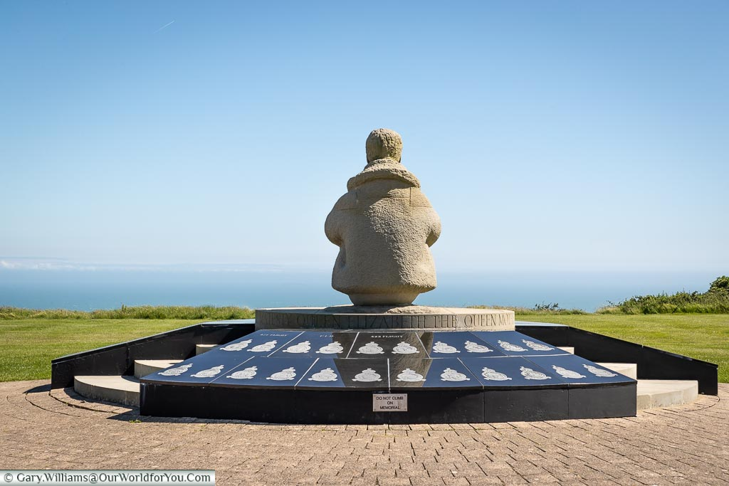 Looking out over the White Cliffs, Battle of Britain Memorial, Capel-le-Ferne, Kent, England, UK