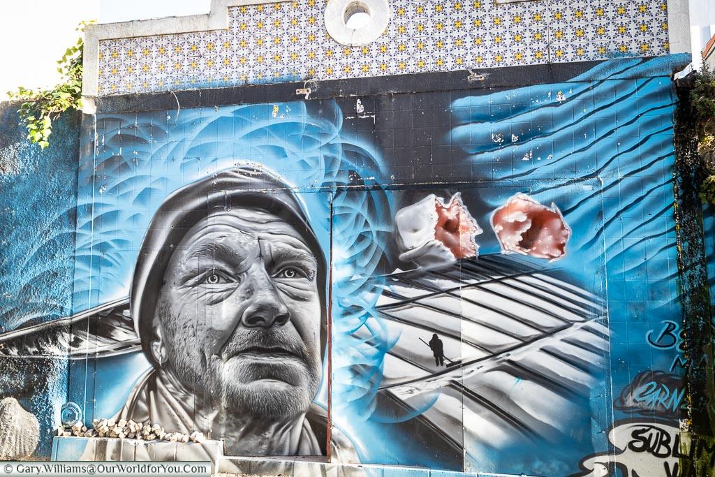 Salt panning street art, Aveiro, Portugal