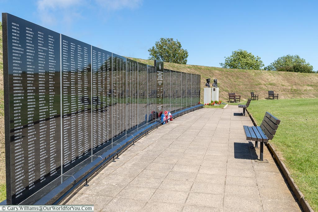 The Wall, Battle of Britain Memorial, Capel-le-Ferne, Kent, England, UK