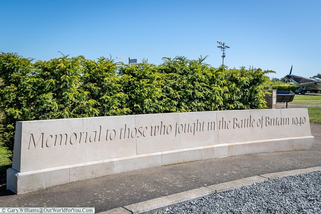 The memorial stone, Battle of Britain Memorial, Capel-le-Ferne, Kent, England, UK
