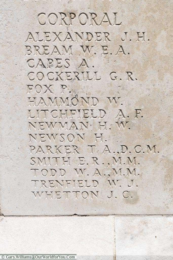Corporal Harry Newson on the wall of remembrance , Tyne Cot, Passchendaele, Belgium
