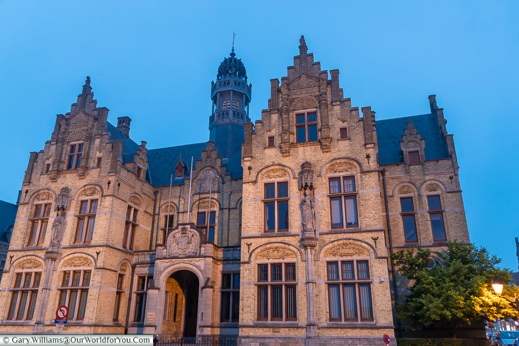 The Courts of Justice at night, Ypres, leper, Belgium