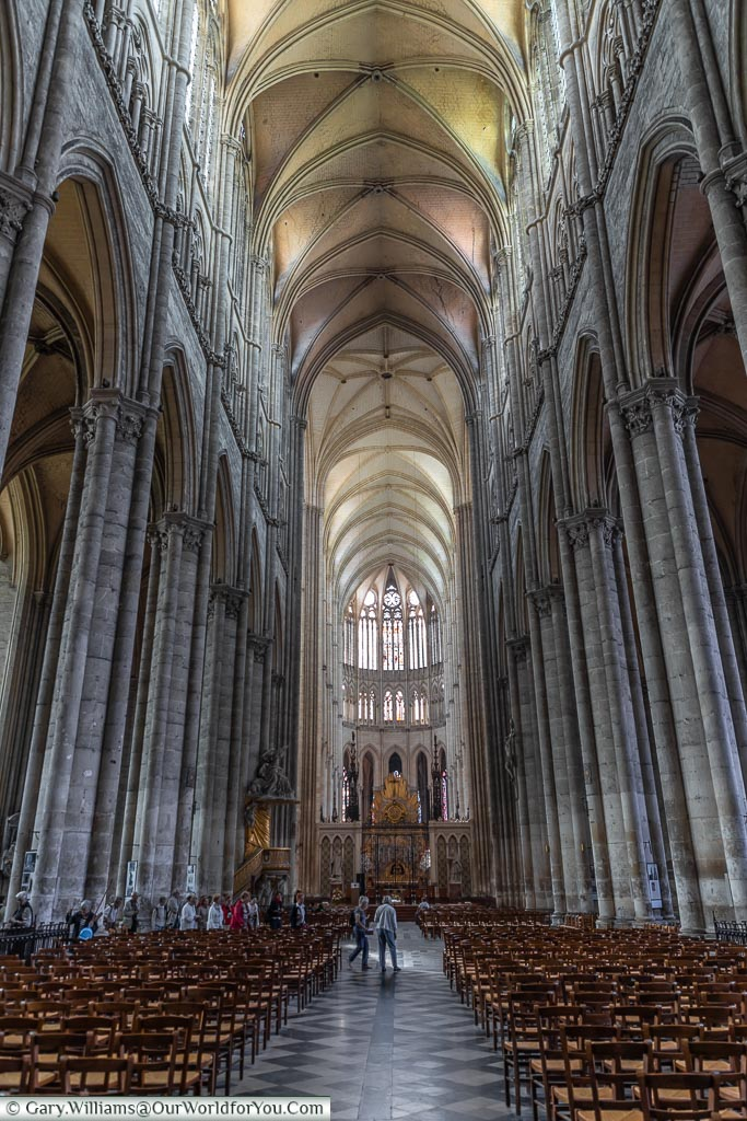 The vaulted nave in the Cathedral, Amiens, France