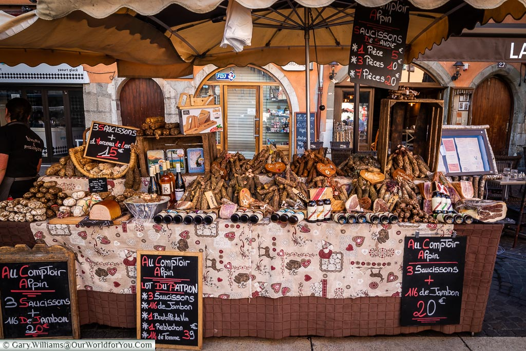 A stall full of Saucissons on the market, Annecy, France