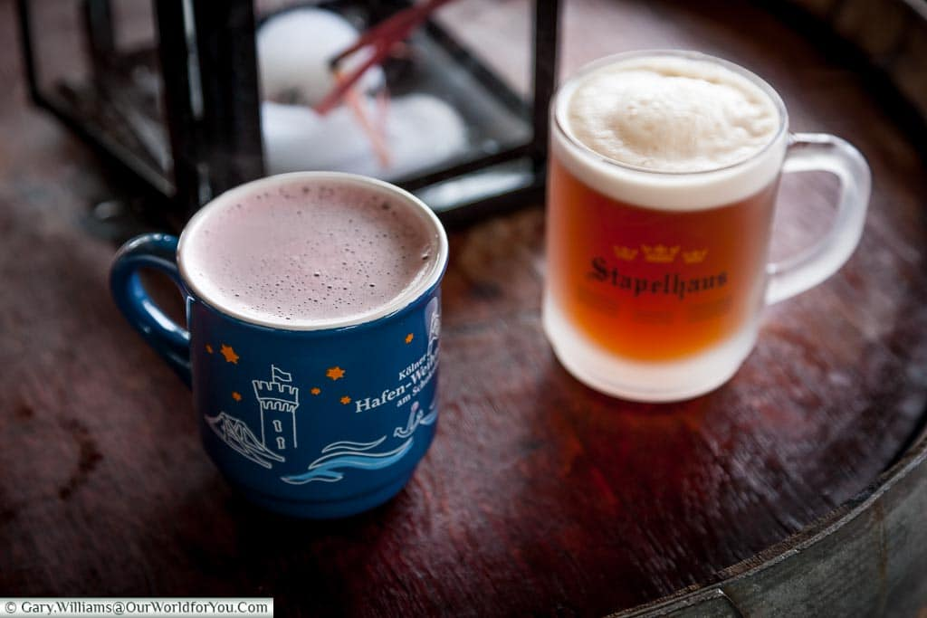 Gluhwein &hot spiced beer at the Harbour Christmas market, Cologne, Germany