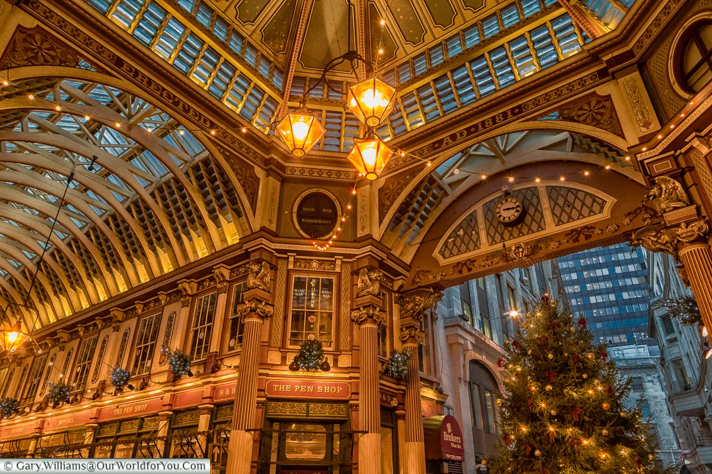 Inside Leadenhall Market, London at Christmas, UK