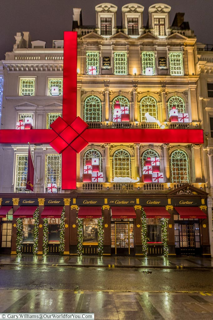 The Cartier store on New Bond Store, Christmas, London, England, UK