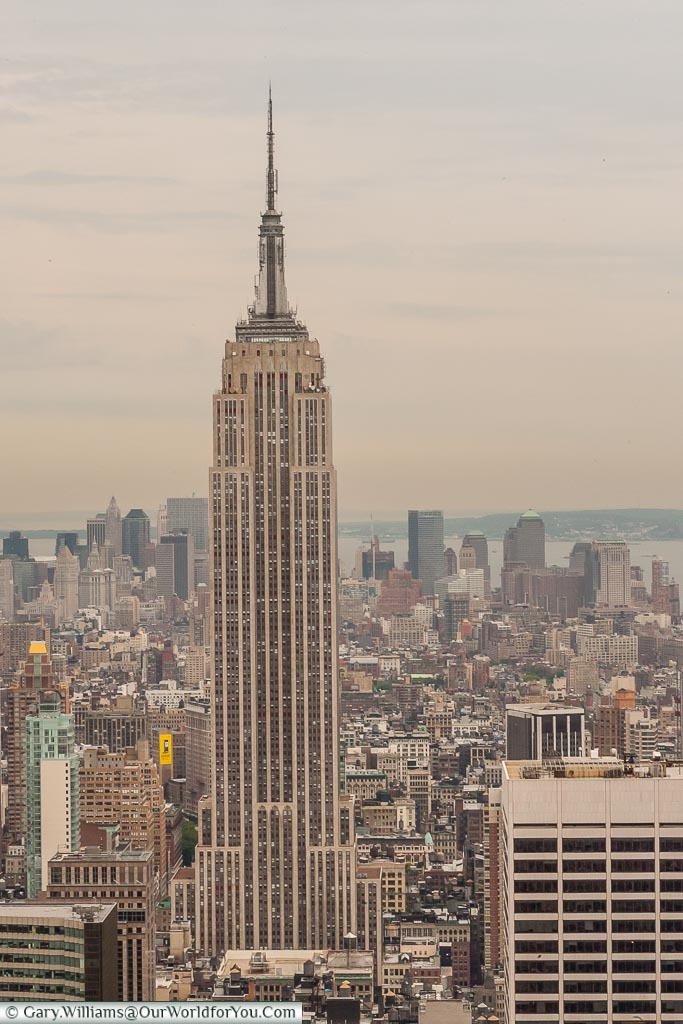 The Empire State Building from the Rockefeller Centre, Manhattan, New York, USA