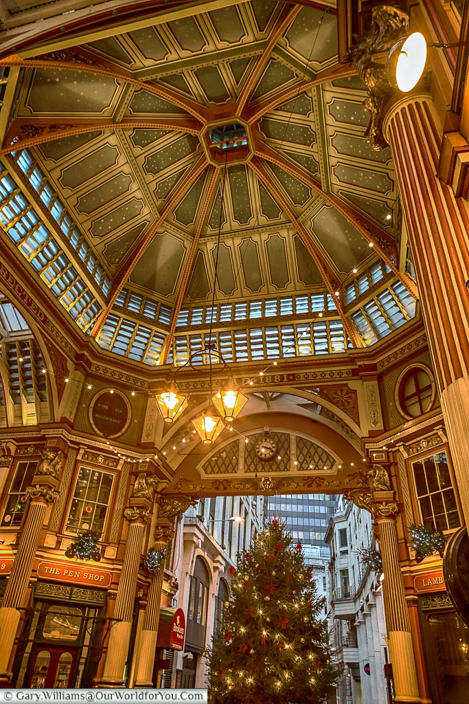 The centre of Leadenhall Market, London at Christmas, UK
