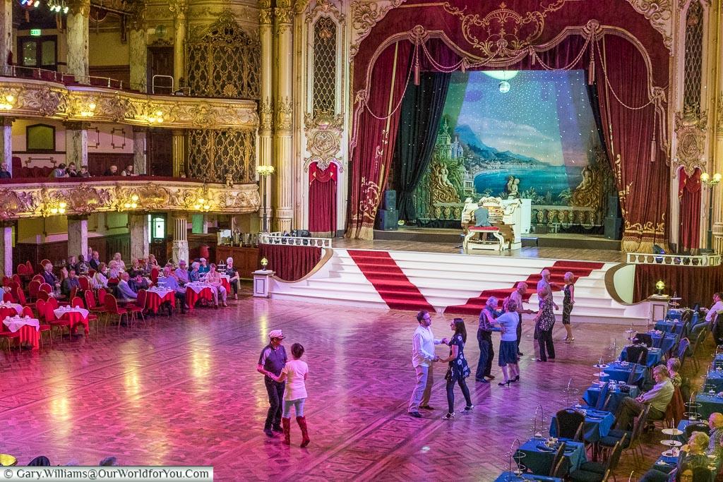 The dancefloor of the Tower Ballroom, Blackpool, Lancashire, England, UK