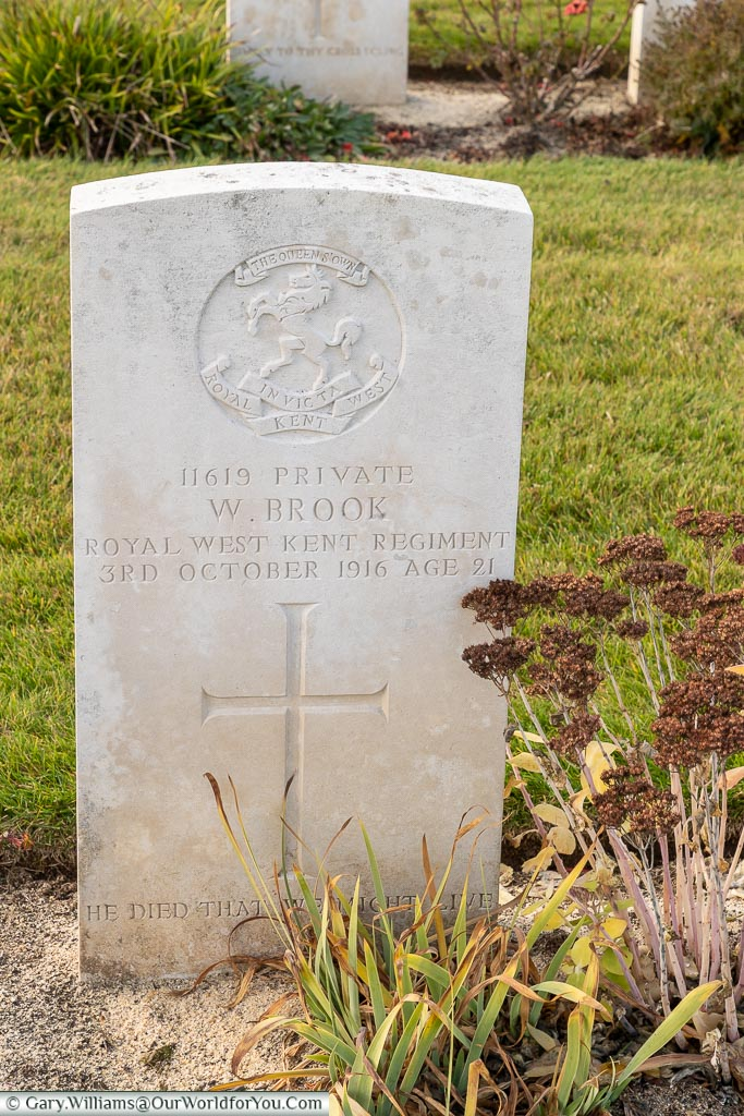 The headstone to Private William Brook, Warloy-Baillon Communal Cemetery, Somme, France