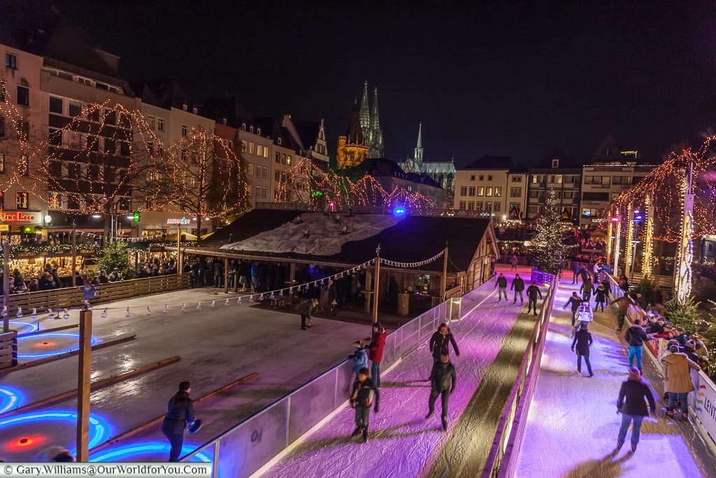 The new ice rink & more at the Christmas Markets, Cologne, Germany