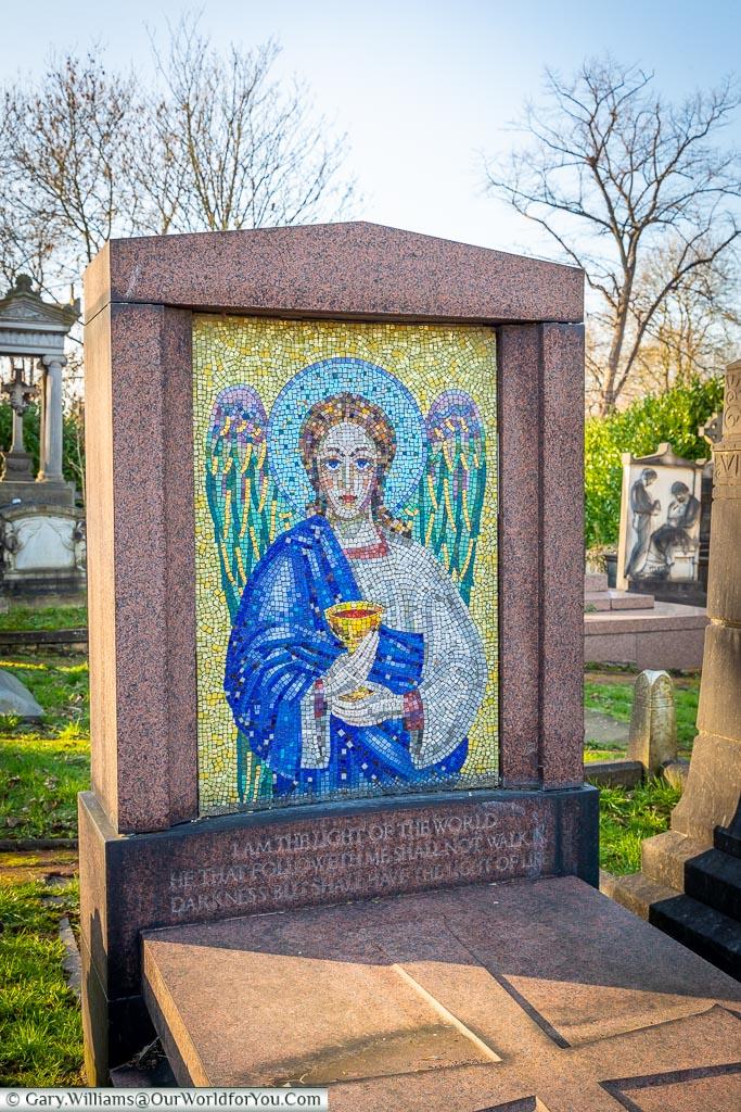 A striking Greek headstone, West Norwood Cemetery, London
