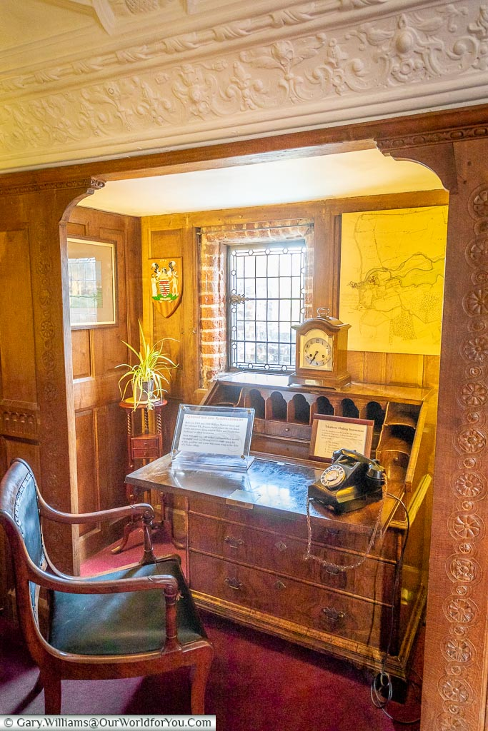 A writing desk in the Astor Suite, Hever Castle, Kent, England