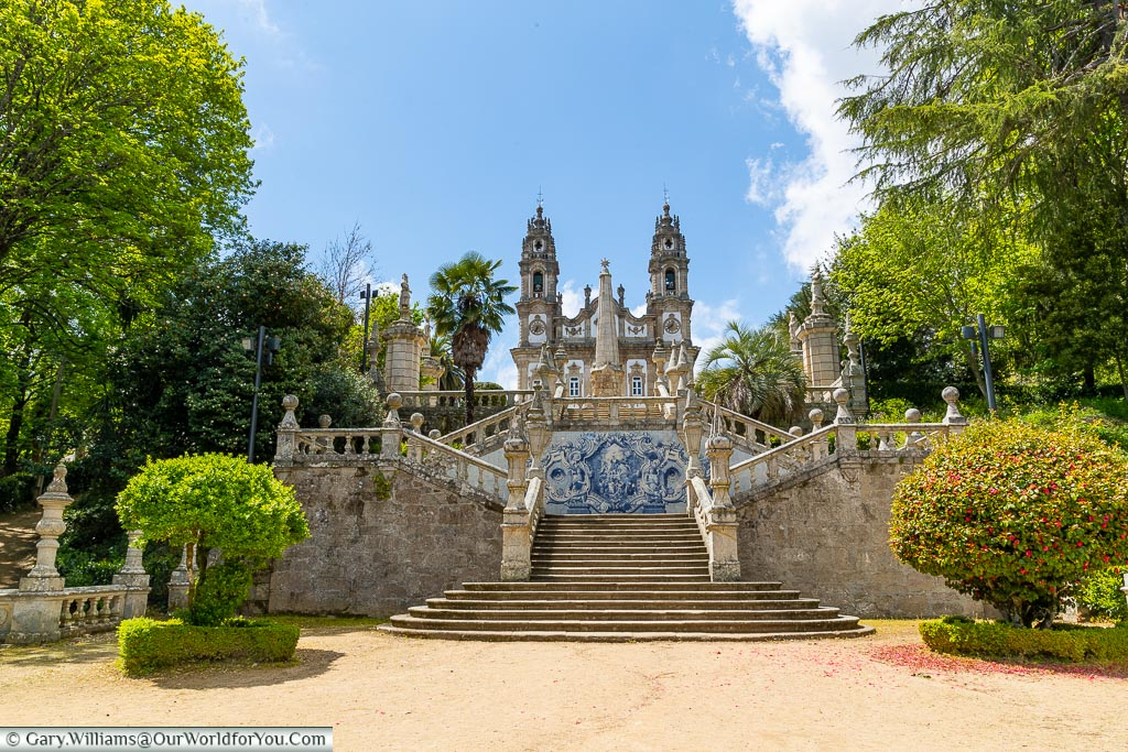 Looking up to Our Lady of Remedies, Lamego, Portugal