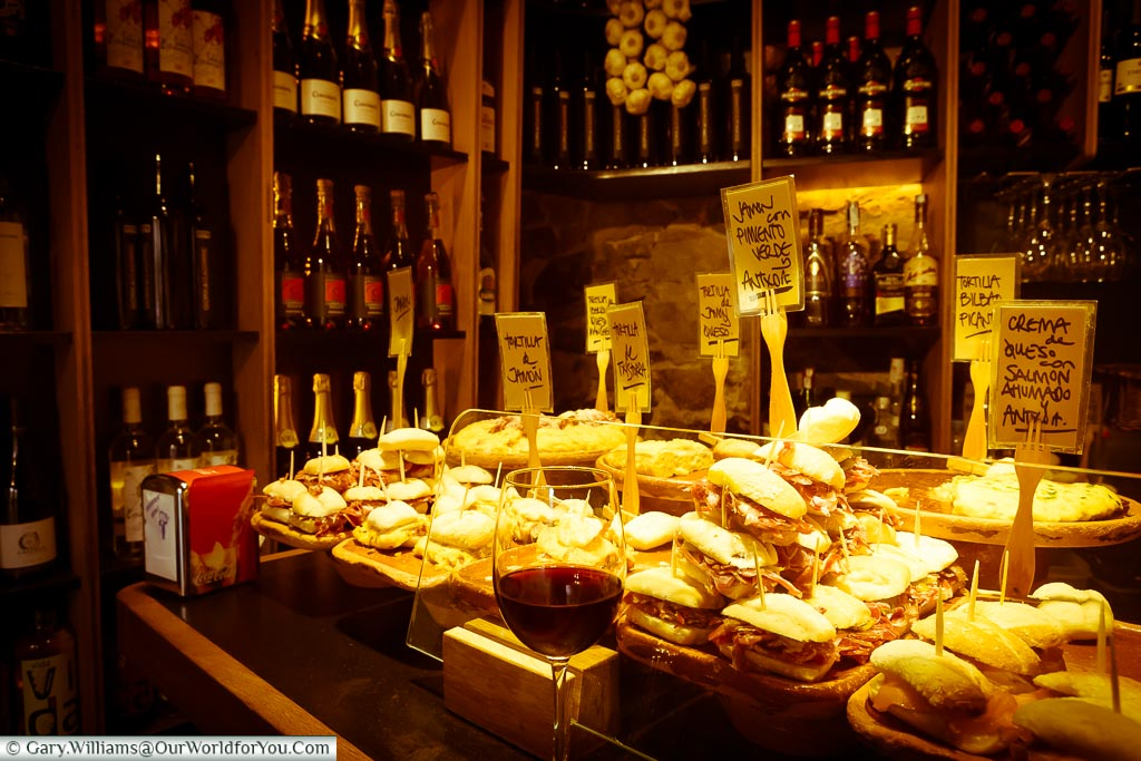 The Zaharra Pintxos bar in the corner of Plaza Nueva, Bilbao, Spain
