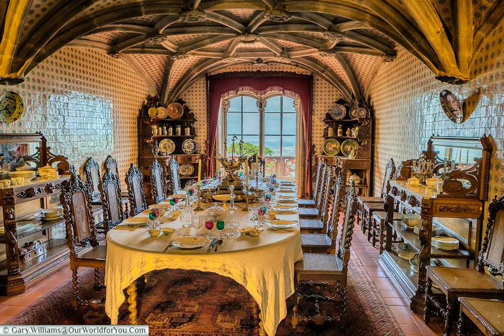 The dining room in the Palace of Pena, Sintra, Portugal