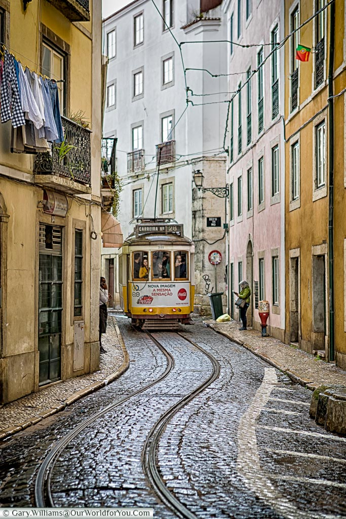 Tram 28 weaves its way through Lisbon, Portugal