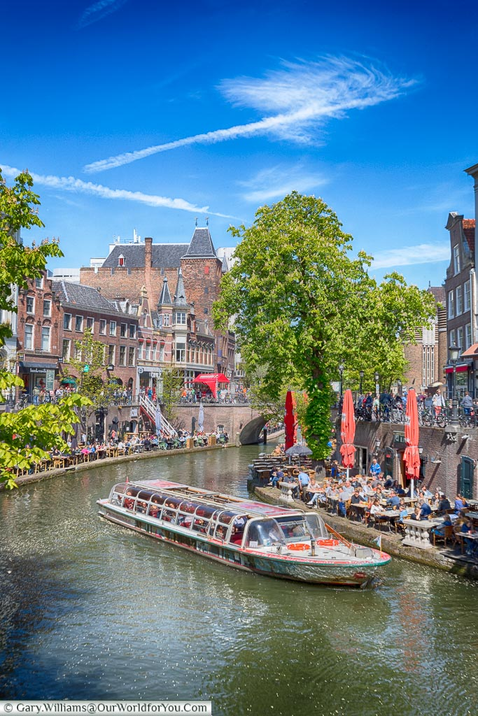 A tour boat on the canal, Utrecht, Holland, Netherlands