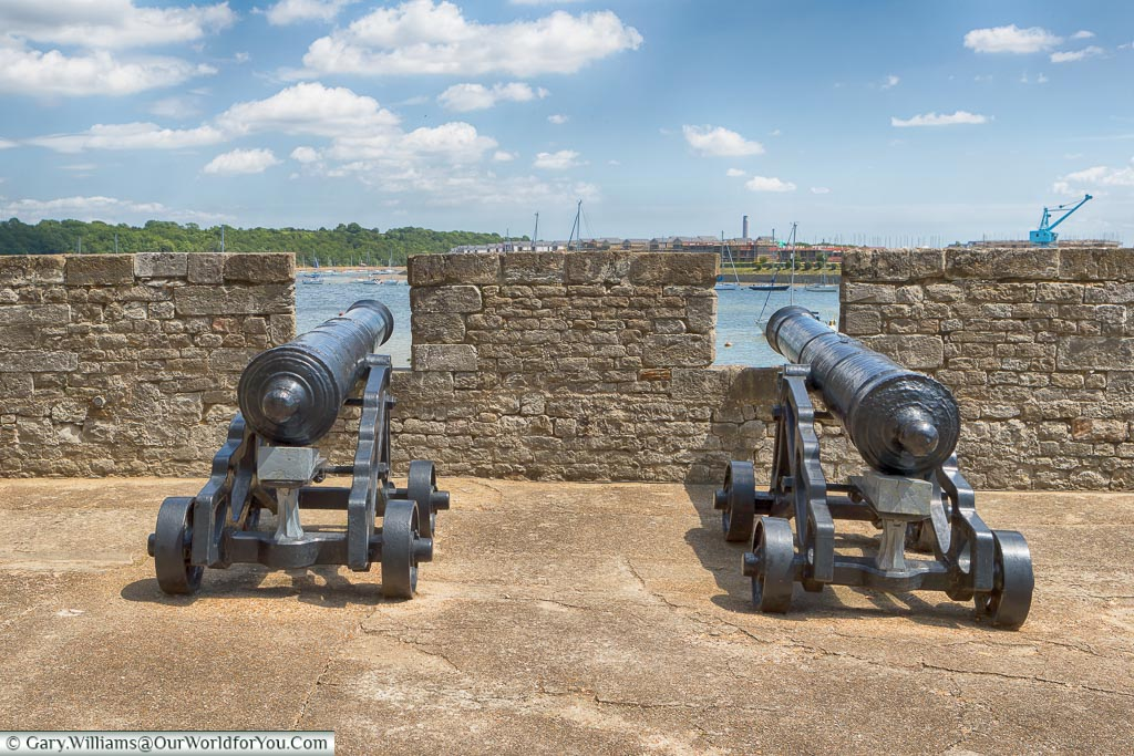 Cannons in place, Upnor Castle, Upnor, Kent, England, UK