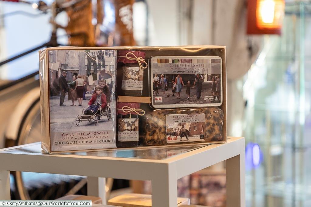 Inside the gift shop, Historic Chatham Dockyard, Kent, England, UK