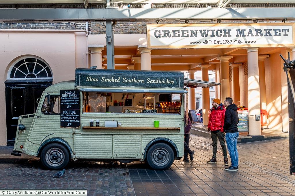 Southern food twist, Greenwich Market, Greenwich, London, England, UK