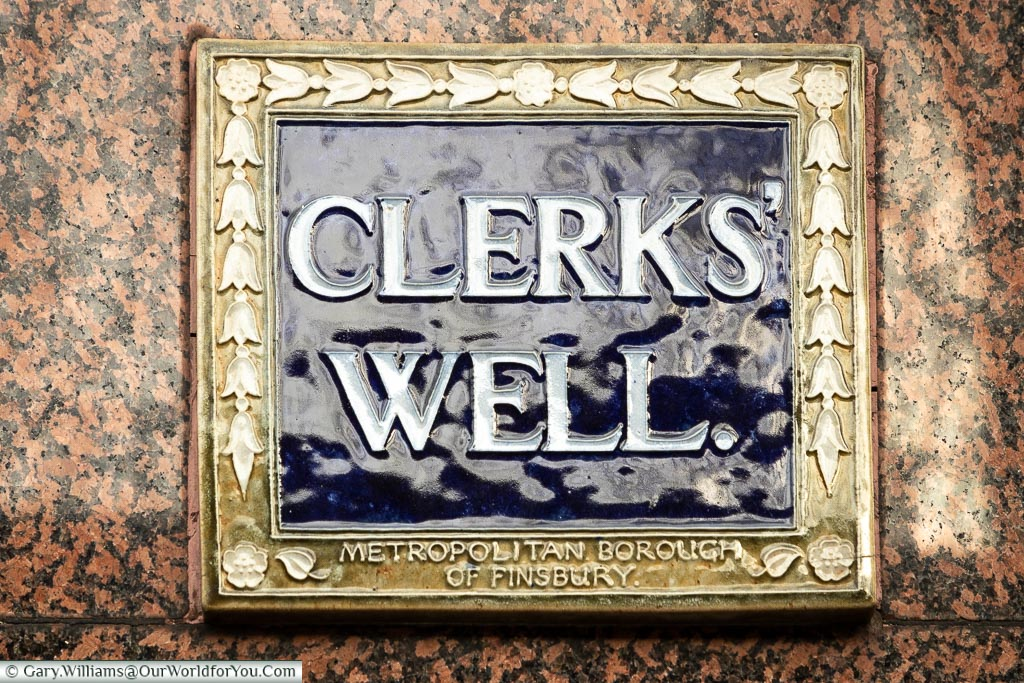 The Clerks' Well blue plaque, Clerkenwell, London, England, UK