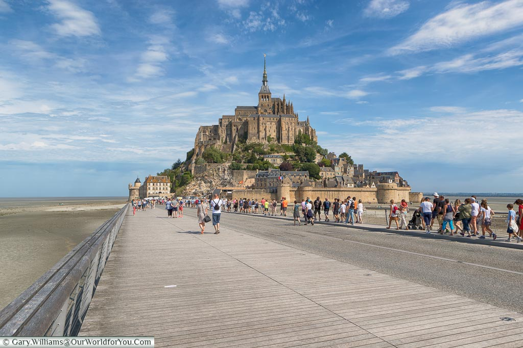 The causeway to  Mont-Saint-Michel, Normandy, France