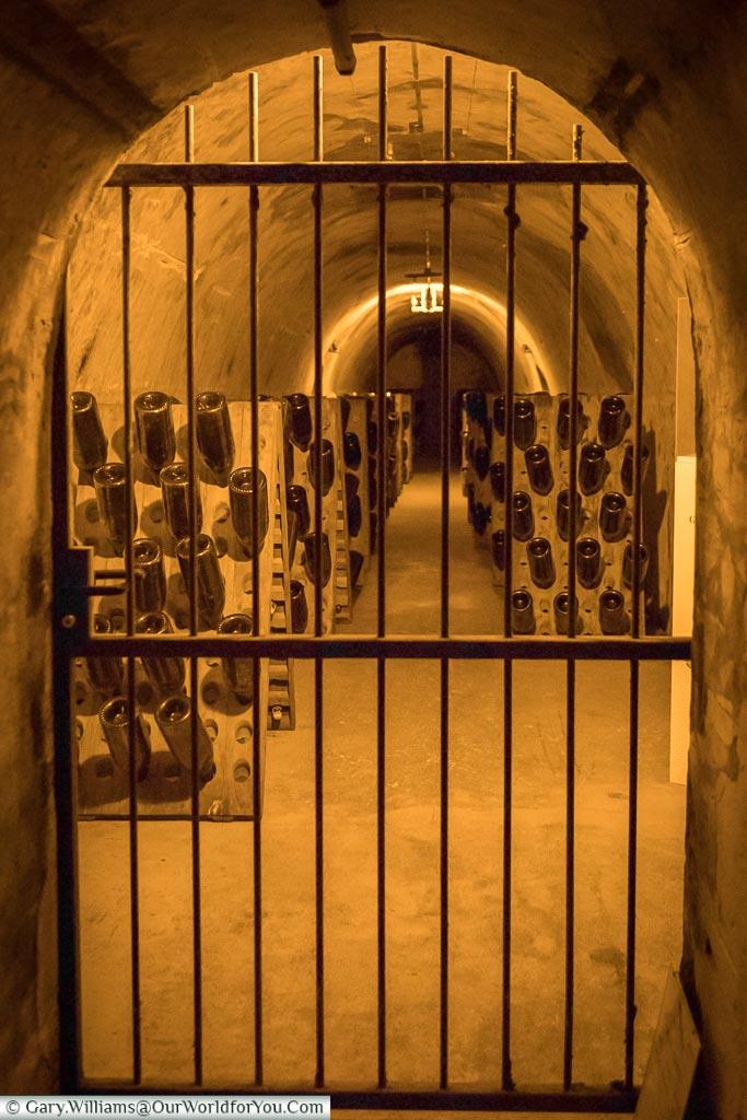 Under lock & key at G H Mumm, Reims, Champagne Region, France
