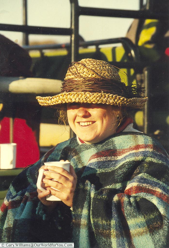 Janis wrapped up warm for a morning Safari in Zimbabwe