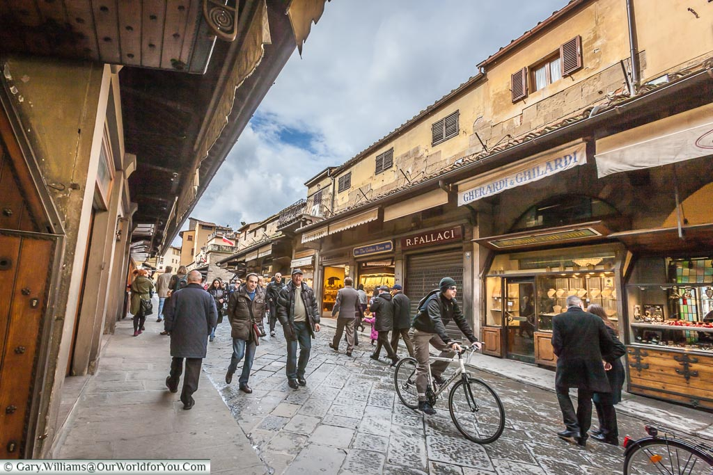 The shops on the Ponte Vecchio, Florence, Tuscany, Italy