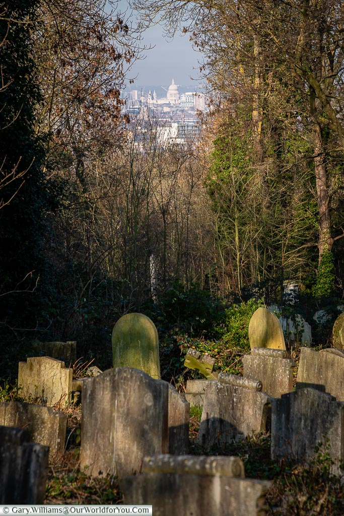 The view of St Paul's Cathedral, Nunhead Cemetery, London, England, UK